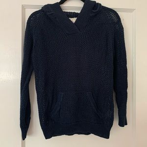 Other - Navy Blue Open Knit Hoodie